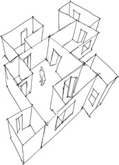 hand drawn architectural sketch of abstract apartment or floor with doors and windows and lonely man