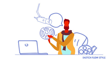 dj presenter broadcasting in studio modern radio station man leads show in chat online video streaming concept male character portrait sketch flow style horizontal