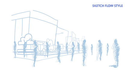 group of hand drawn people crowd over city street office buildings cityscape sketch flow style horizontal
