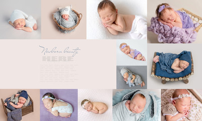 PIctures of sleepy newborns in collage