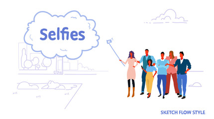 men women people group using selfie stick taking picture on smartphone camera friends standing together public park cityscape background sketch flow style horizontal