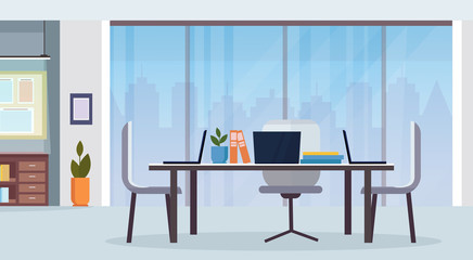 modern office interior workplace desk creative co-working center empty no people workspace flat horizontal