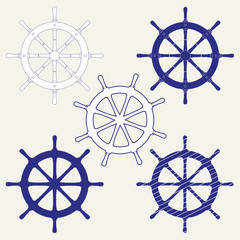 A set of five icons of the ship's steering wheels. Isolated vector illustration on gray background.