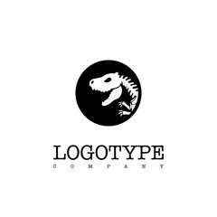 Vector logotype dinosaur skeleton t-rex isolated on white background. Silhouette in a black circle.