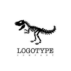 Vector logotype dinosaur skeleton t-rex isolated on white background. Black silhouette.