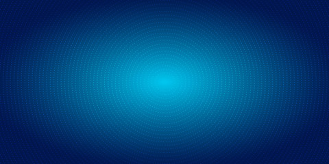 Abstract radial dots pattern halftone on blue gradient background. Technology digital concept futuristic neon lighting. Wall mural