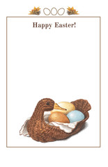 Happy Easter frame. Three colorful eggs in a basket in the shape
