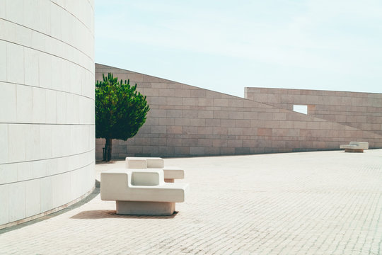 Modern Minimal Architecture Of Wall Stone Chair To Be Used As Bench