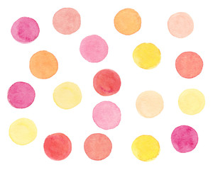 Watercolor hand drawn colorful dots set with pink, yellow, orange circles on white background