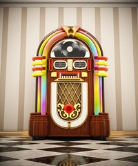 Jukebox standing on checkers ground next to the wall. 3D illustration