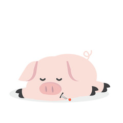 Sick Pig  Cartoon Vector