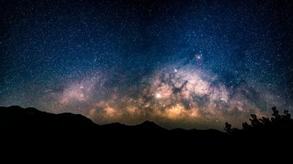 Milky Way and starry night sky.