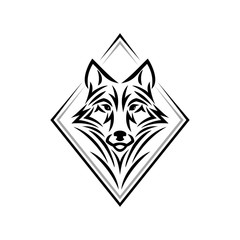 Wolf head logo or icon in one color. Tribal tattoo style animal head. Stock vector emblem.