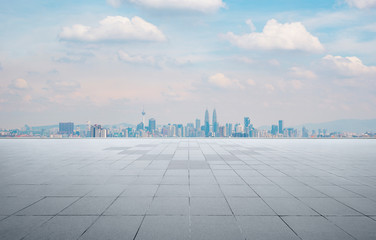 Fotomurales - Empty concrete cement floor with sea and cityscape skyline , morning scene .