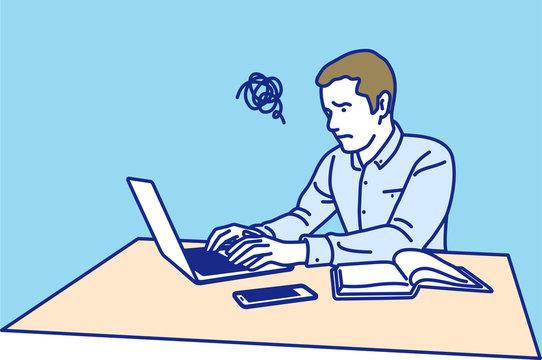 ノートパソコンで仕事をする男性 困る