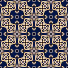 Floral seamless pattern. Golden design on dark blue background