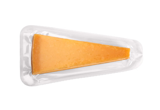 Blank cheese plastic package isolated on white background. Packaging template mockup collection. With clipping Path included