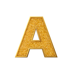 Gold glitter letter A. Shiny sparkling golden capital letter. 3D rendering