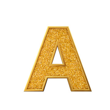 Gold glitter letter A. Shiny sparkling golden capital letter. 3D rendering