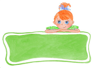 Funny smiling girl with bows. Green banner for your text.
