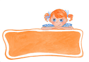 Funny smiling girl with bows. Orange banner for your text.