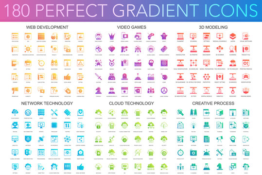 180 trendy perfect gradient icons set of web development, video games, 3d modeling, network technology, cloud data technology, creative process.