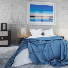 Bedroom with Sea View by Daylight (focused) - 3d visualization