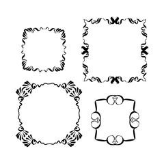 Decorative vintage frames set. hand-drawn vector illustration on white background