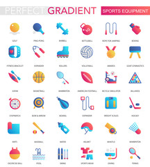Vector set of trendy flat gradient Sport equipment icons.