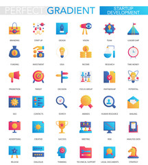 Vector set of trendy flat gradient Startup development icons.