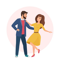 Happy romantic handsome man and pretty woman. Time together. Couple dancing in love vector illustration.