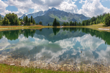 Mountain lake reflection horizontal