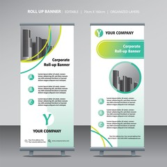 business roll up design template green lime color scheme with city background