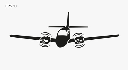 Private plane vector illustration icon. Twin engine propelled aircraft.