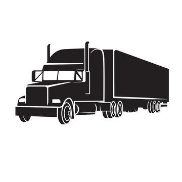 Classic american truck vector illustration icon. Retro freighter truck.