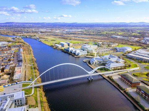 The infinity foot bridge than spans the river tees  from the town to the university in Stockton on tees
