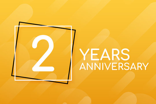 2 years anniversary emblem. Anniversary icon or label. 2 years celebration and congratulation design element. Vector illustration.