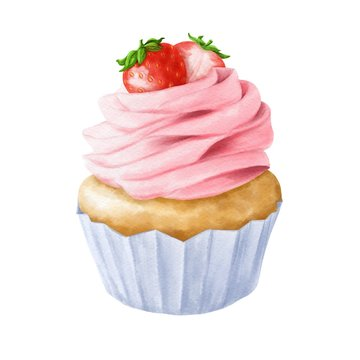 Hand drawn strawberry cupcake on watercolor paper. Delicious food illustration.