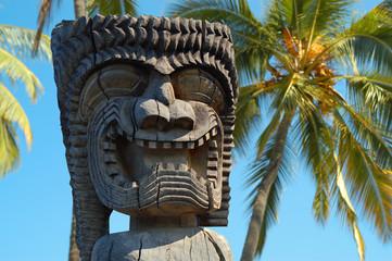 Sculpture of a local god, Big Island, Hawaii, USA