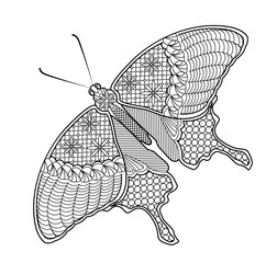 Coloring pages butterfly on the background of the mandala for adults and children. Illustration in the style of zentangle. Vector. Can be used to design t-shirts, bags, postcards and a poster.