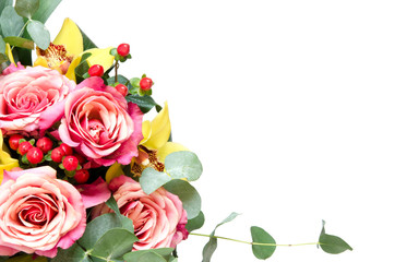 Flowers composition. Bouquet flowers on white background. Top view, copy space. - Image