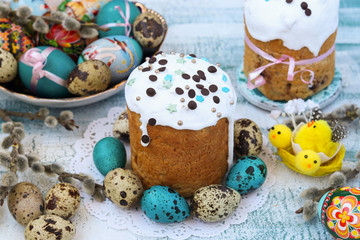 Spring still life of Easter cakes and painted eggs