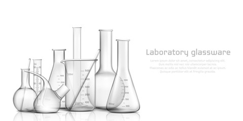 Chemical, biological science laboratory glassware collection 3d realistic vector banner, poster. Empty, graduated with milliliters scale glass tube, beaker and flask illustration on white background