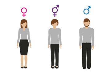 Fototapeta gender characters female male and neutral vector illustration EPS10