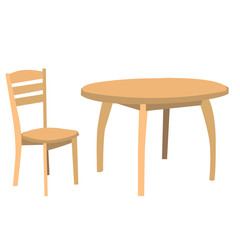 vector, isolated, table and chair brown