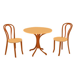 vector isolated table round and two chairs brown