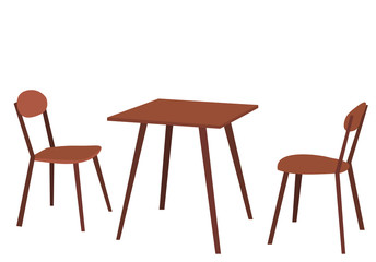 isolated table and two brown chairs