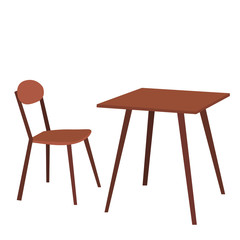 table and chair brown
