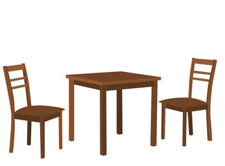 vector isolated table and two brown chairs