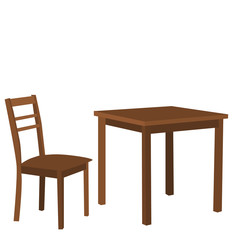 isolated, table and chair brown